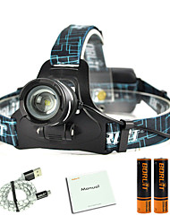cheap -Boruit® B9 Headlamps 450 lm LED LED 1 Emitters 3 Mode with Batteries and USB Cable Zoomable Professional Adjustable Camping / Hiking / Caving Everyday Use Police / Military Black Red Blue