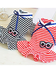 cheap -Dog Dress Dog Clothes Black Red Costume Cotton Stripes Casual / Daily XS S M L XL