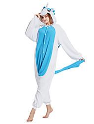 cheap -Adults' Kigurumi Pajamas Unicorn Animal Onesie Pajamas Polar Fleece Blue Cosplay For Men and Women Animal Sleepwear Cartoon Festival / Holiday Costumes