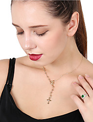 cheap -Women's Pendant Necklace Collar Necklace Cross Rhinestone Metal Alloy Gold Silver Necklace Jewelry For Daily Street