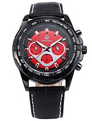 cheap -Men's Fashion Watch Quartz Leather Black 30 m Water Resistant / Waterproof Calendar / date / day Analog White Black Red