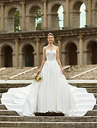 cheap -A-Line Strapless Asymmetrical Satin Sleeveless Open Back Made-To-Measure Wedding Dresses with Side Draping / Button 2020