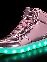 cheap -Girls' Sneakers LED Comfort LED Shoes Patent Leather Customized Materials Little Kids(4-7ys) Big Kids(7years +) Athletic Casual Walking Shoes Lace-up Hook & Loop LED Black Blue Pink Fall