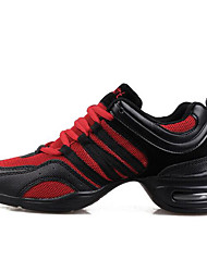 cheap -Women's Dance Shoes Breathable Mesh Dance Sneakers Heel Wedge Heel Black / Black / Red / Black / Orange / Practice