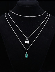 cheap -Women's Crystal Pendant Necklace Tree of Life Star Basic Alloy Silver Necklace Jewelry 1pc For Daily Casual