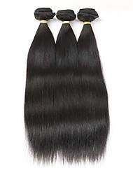 cheap -3 Bundles Brazilian Hair Straight Remy Human Hair Natural Color Hair Weaves / Hair Bulk Human Hair Weaves Human Hair Extensions / Short