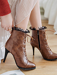 cheap -Women's Boots Lace up Pointed Toe Stitching Lace Leatherette Booties / Ankle Boots Comfort / Fashion Boots Spring / Fall Black / Gray / Brown