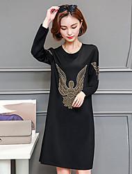 cheap -Women's Plus Size Going out Street chic Loose Shift Dress Print Fall Black M L XL XXL