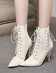 cheap -Women's Boots Pointed Toe Customized Materials / Leatherette Mid-Calf Boots Comfort / Novelty Fall / Winter White / Black / Red / Wedding / Party & Evening