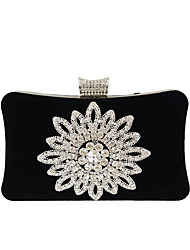 cheap -Women's Crystals Velvet Evening Bag Rhinestone Crystal Evening Bags Black / Camel / Purple / Fall & Winter