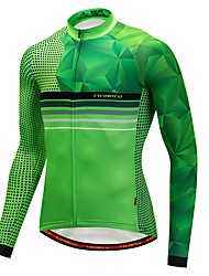 cheap -CYCOBYCO Men's Long Sleeve Cycling Jersey Winter Fleece Polyester Spandex Green Stripes Bike Jersey Top Thermal / Warm Sports Clothing Apparel / Stretchy