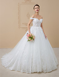 cheap -Ball Gown Off Shoulder Chapel Train Tulle / Glitter Lace Made-To-Measure Wedding Dresses with Sequin / Lace by LAN TING BRIDE® / Open Back