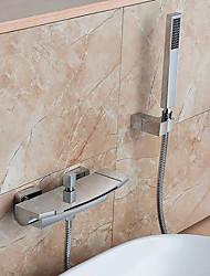 abordables -Robinet de baignoire - Moderne Chrome Montage mural Soupape céramique Bath Shower Mixer Taps / Laiton