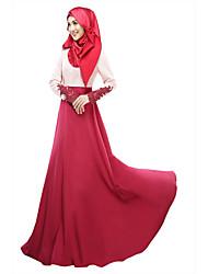 cheap -Women's Wine Purple Dress Spring, Fall, Winter, Summer Daily Jalabiya Color Block M L High Waist