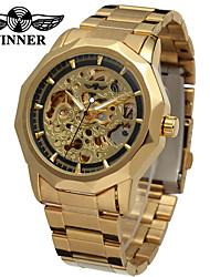 Недорогие -WINNER Муж. Часы со скелетом Наручные часы Механические часы С автоподзаводом Нержавеющая сталь Серебристый металл / Золотистый 30 m С гравировкой Аналоговый Классика Винтаж На каждый день -
