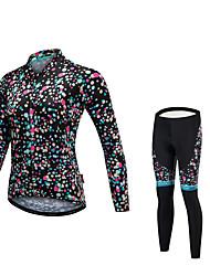 cheap -Malciklo Women's Long Sleeve Cycling Jersey with Tights Black Polka Dot Bike Clothing Suit Quick Dry Anatomic Design Reflective Strips Winter Sports Fleece Lycra Polka Dot Mountain Bike MTB Road Bike