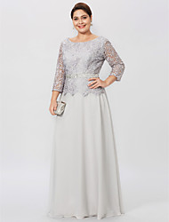 cheap -Sheath / Column Jewel Neck Floor Length Chiffon / Corded Lace 3/4 Length Sleeve Plus Size / Elegant Mother of the Bride Dress with Lace 2020