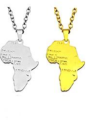 cheap -Men's Women's Pendant Necklace Pendant Maps Alphabet Shape Classic Ethnic Fashion Inspirational Alloy Gold Silver Necklace Jewelry For Club Bar
