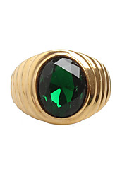 cheap -Men's Band Ring Signet Ring Cubic Zirconia Black Green Red Titanium Steel Statement Vintage Rock Wedding Daily Jewelry Solitaire Oval Cut Magic