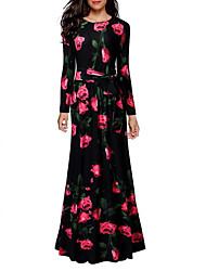 cheap -Women's Floral Holiday Maxi Shift Dress - Floral Print Cotton Black S M L XL