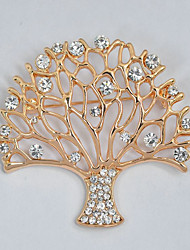 cheap -Women's Brooches Tree of Life life Tree Elegant Sweet Rhinestone Brooch Jewelry Gold For Daily Formal