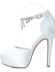 cheap -Women's Stiletto Heel Rhinestone Satin Spring / Summer Silver / Blue / Purple / Wedding / Party & Evening / EU36