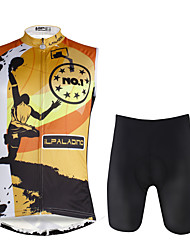 cheap -ILPALADINO Men's Sleeveless Cycling Jersey with Shorts Black / Orange Bike Vest / Gilet Padded Shorts / Chamois Clothing Suit 3D Pad Quick Dry Sports Lycra Painting Mountain Bike MTB Road Bike Cycling