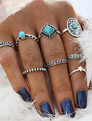 cheap -Women's Nail Finger Ring Rings Set Pinky Ring Turquoise 8pcs Silver Alloy Statement Vintage Bohemian Wedding Party Jewelry