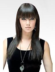 cheap -Human Hair Blend Wig Long Straight kinky Straight kinky straight Straight Natural Hairline Machine Made Women's Natural Black #1B Honey Blonde#24 Medium Auburn#30 24 inch