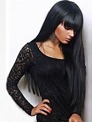 cheap -Synthetic Wig Straight Kardashian Straight With Bangs Wig Long Black#1B Synthetic Hair 24 inch Women's With Bangs Black