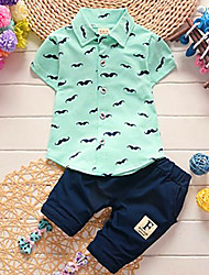 cheap -Toddler Boys' Casual Street chic Floral Cartoon Short Sleeve Regular Cotton Clothing Set Blue