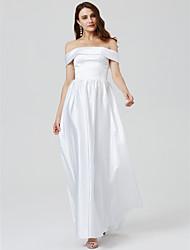 cheap -Ball Gown Elegant Minimalist Open Back Prom Formal Evening Dress Off Shoulder Short Sleeve Floor Length Satin with Sash / Ribbon Pleats Beading 2020