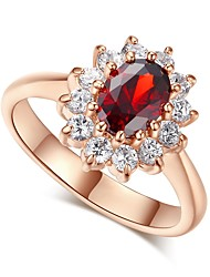 cheap -Women's Band Ring Cubic Zirconia High End Crystal One-piece Suit Red Blue Zircon Rose Gold Plated Silver Circle Vintage Elegant Wedding Engagement Jewelry Halo Princess