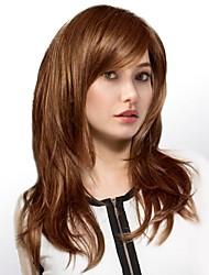 Недорогие -Человеческие волосы Парик Длинные Естественные волны Естественные волны Боковая часть Машинное плетение Жен. Черный Мед блондинку Medium Auburn 24 дюйм