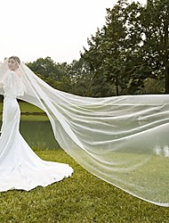 cheap -One-tier Cut Edge / Modern Wedding Veil Blusher Veils / Cathedral Veils / Headpiece with Ruched Tulle / Drop Veil