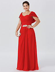 cheap -Sheath / Column Off Shoulder Floor Length Chiffon Short Sleeve Elegant & Luxurious / Glamorous & Dramatic / Elegant Mother of the Bride Dress with Criss Cross / Ruched / Crystal Brooch 2020