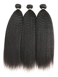 cheap -3 Bundles Indian Hair kinky Straight Remy Human Hair Natural Color Hair Weaves / Hair Bulk Human Hair Weaves Human Hair Extensions / Short