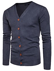cheap -Men's Daily Active Solid Colored Long Sleeve Regular Cardigan Sweater Jumper, V Neck Fall / Winter Black / Wine / Orange M / L / XL