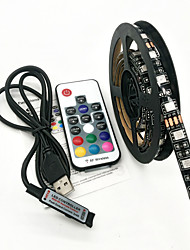 cheap -ZDM 100CM LED Light Strips RGB Tiktok Lights TV Background atmosphere lamp USB 5V Black Waterproof 15W 5050 10mm with 17Key RF Controller DC 5V