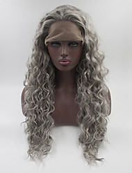 cheap -Synthetic Lace Front Wig Lace Front Wig Medium Length Long Grey Synthetic Hair Women's Gray