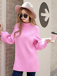 cheap -Women's Going out Active Lantern Sleeve Pullover - Solid Colored, Knitting Turtleneck