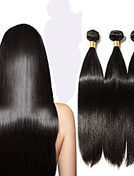 cheap -6 Bundles Peruvian Hair Straight Remy Human Hair Natural Color Hair Weaves / Hair Bulk 12-28 inch Human Hair Weaves Human Hair Extensions / Short / 10A