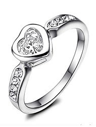 cheap -Women's Band Ring Cubic Zirconia Moissanite One-piece Suit Silver Rose Gold Zircon Silver Geometric Vintage Elegant Wedding Engagement Jewelry Heart
