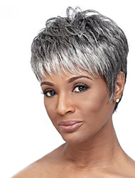 cheap -Human Hair Capless Wigs Human Hair Natural Wave Short Hairstyles 2019 Halle Berry Hairstyles Highlighted / Balayage Hair / Dark Roots Short Machine Made Wig Women's