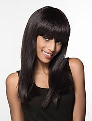 cheap -Human Hair Blend Wig Long Straight Straight Machine Made Women's Natural Black #1B Honey Blonde#24 Medium Auburn#30 24 inch