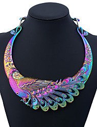 cheap -Women's Statement Necklace Ethnic Peacock Ladies Colorful Chunky Metal Alloy Black Gold Silver Rainbow Silver Dragon 50 cm Necklace Jewelry One-piece Suit For Party Daily