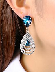 cheap -Women's Crystal Stud Earrings Drop Earrings Hanging Earrings Pear Cut Long two stone Drop Ladies Classic Fashion Elegant Crystal Earrings Jewelry White / Green / Blue For Wedding Party Gift