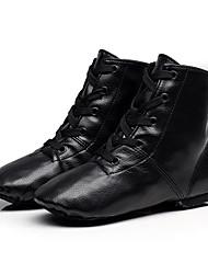 cheap -Women's Jazz Shoes Cowhide Lace-up Sneaker / Full Sole Flat Heel Dance Shoes Black