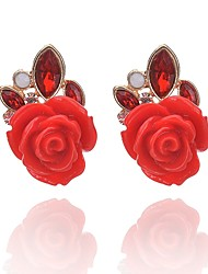 cheap -Women's Synthetic Ruby Stud Earrings Flower Classic Fashion Gemstone Earrings Jewelry Black / Red For Daily