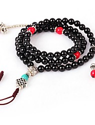cheap -Women's Obsidian Bead Bracelet Wrap Bracelet Vintage Fashion Agate Bracelet Jewelry Black For Gift Date